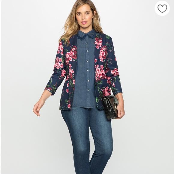 de646696895 Eloquii Jackets   Blazers - Eloquii Floral Crepe Blazer